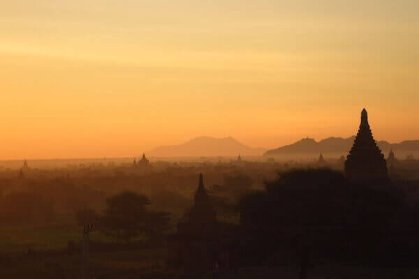 Bagan temples at sunrise