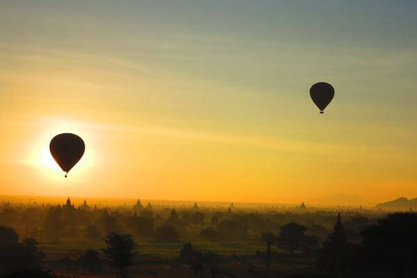 hot air balloons at sunrise view