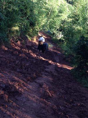 Kalaw to Inle Lake trek Muddy track